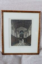 Antique Ackermann Aquatint of Jesus College Chapel Cambridge circa 1814