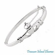 IRISH CLADDAGH HEART .925 Solid Sterling Silver BANGLE Bracelet w/ SAFETY CHAIN