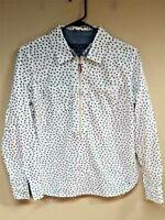 Tommy Hilfiger Women Size Small Polka Dot Half Zip Long Sleeve Top Blouse Shirt
