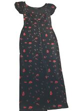 Vintage Betsey Johnson M Black Velvet Floral Red Rose Long Puff Sleeve Dress USA