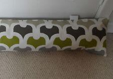 Draught Excluder Handmade Cotton Fabric Lime Green Grey Beige Cream Retro Print
