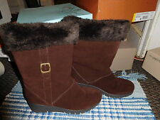 9m COFFEE BROWN SUEDE WEDGE HEEL BOOTS LIFE STRIDE CONVOY FAUX FUR LINED
