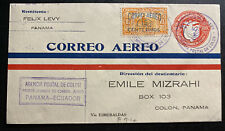 1929 Colon Canal Zone Panama First Flight Cover To Esmeraldas Ecuador Mizrahi