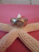 Sterling Silver 925 Diamond Heart Ring SZ 6.5 MAKERS MARK CHUNKY