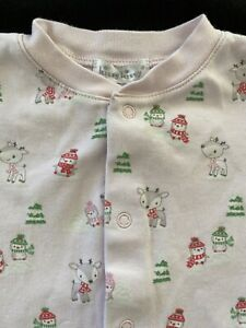 Kissy Kissy EUC Pink Pima Cotton Christmas Icons Snap Front Footie - 3-6 Months