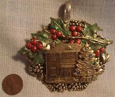 Handmade Christmas scene spoon pendant
