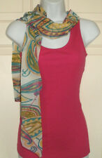 New Juniors size Medium M 7-9 Pink Tank Top with Scarf Ribbed Piper & Blue