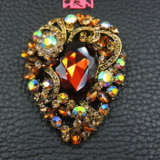 New Fashion Betsey Johnson Yellow Crystal Lovely Flower Charm Brooch Pin Gift