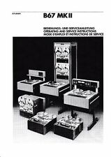 Operating and Service Instructions/Serviceanleitung for Studer B67 MKII
