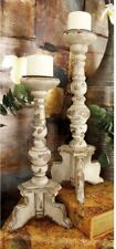Set of 2 Large Rustic Pillar Candle Holder Candlesticks ~ Distressed White Wood