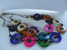 BOHEMIAN HIPPY MULTI COLOUR 3 STRAND WOOD BEAD & DISC CORD NECKLACE New pouch