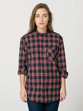 American Apparel XXS Unisex Plaid Flannel Long Sleeve Button-Up Shirt