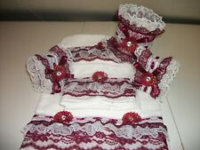 6Pc White And Burgundy Bath Towel And Tissue Cover And Two Decorate Soap
