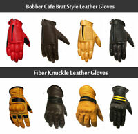 Biker Gloves Racer Bobber Cafe Brat Style, Fiber Knuckle Biker Leather Gloves