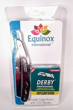Equinox Straight Edge Barber Razor Stainless Steel with 100 Derby Blades