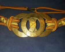 Vintage 1994 Leather Shop Women's Brass Braided Black Designer Belt S