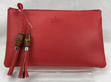 New Gucci Bamboo 376854 Women's Leather Clutch Bag