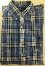 POLO RL Mens XL Shirt Blue Oxford Plaid Sport Custom Fit Short Sleeve Cotton