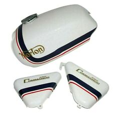 Fuel Tank With Side Panel Norton Commando Roadster 850 White Blue Stripe Painted