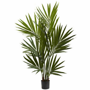 4' ARTIFICIAL REALISTIC SILK KENTIA PALM TREE PLANT w/ POT ~ for Home or Office