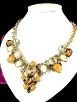 PERFECT FOR FALL LEE ANGEL NECKLACE TOPAZ RHINESTONE AMBER CABOCHON RS PENDANT