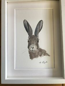 Hare Watercolour Signed Original Art, Vintage, Cottage, Gift