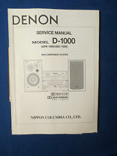 DENON D-1000 SYSTEM SERVICE MANUAL ORIGINAL FACTORY ISSUE GOOD CONDITION