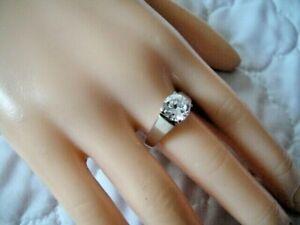 Sterling Silver 925 Solitaire KR DQ CZ Diamonique Cubic Zirconia Bridal Size 9