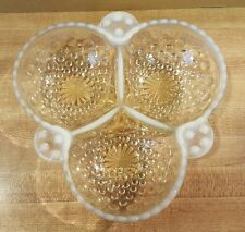 Vintage Moonstone Anchor Hocking Opalescent Hobnail Glass Divided Dish