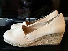 New Andre Assous Beige Nude Pamela Espadrille Wedge Shoes Sz 11 M