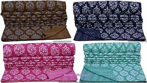 INDIAN KANTHA QUILT TWIN SIZE THROW KANTHA BED COVER REVERSIBLE BEDSPREAD RALLI
