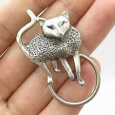 Mexico Signed Vtg 925 Sterling Silver Modernist Cat Pin Brooch