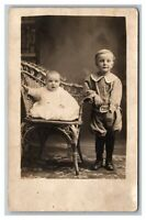 Portrait Baby Girl & Young Boy RPPC Real Photo Postcard Divided Back Unposted