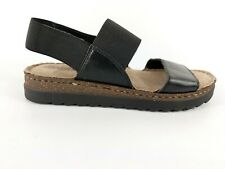 Neues AngebotM & S Footglove Schwarz Leder & Stretch Stoff Sandaletten NEU UK 3