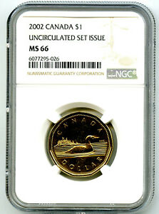 2002 CANADA $1 GOLDEN JUBILEE LOON NGC MS66 UNCIRCULATED LOONIE TOP POP=9