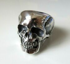 Large Solid Sterling Silver Anatomical Skull Ring Keith Richards Style Any Size