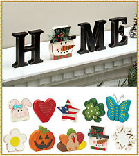 13-Pc Interchangeable Home Sentiment Seasonal Holiday Sign Table Decor - Choices