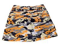 "Slazenger Womens Size 2 Orange Camo Army "" Athletic Tennis Golf Skirt Skort"