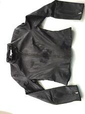 Kookai Faux Vintage Black Leather Bikers Jacket Size 42