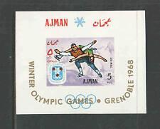 AJMAN Minkus Catalog # 173 SOUVENIR SHEET IMPERF MNH  1968 Grenoble OLYMPICS