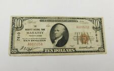 1929 $10 National Currency Bank Note - Mahaffey National Pa - Brown Seal 7610 T1