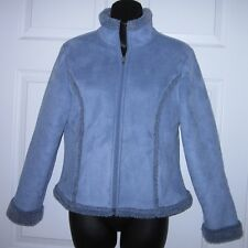 L L Bean Wms Soft Blue Velour Coat XS Petite