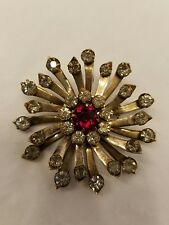 Large Signed Old Antique Sterling Silver Rhinestone Brooch Pin Beautiful Stones!