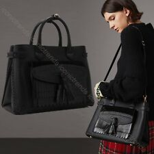 NWT🌺 $2295 Burberry Brogue Pocket Medium Banner Tote Calfskin Leather BLACK