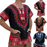 Men Dashiki African Ethnic T-shirt Short Sleeve Tops Pocket Kaftan Casual Tee