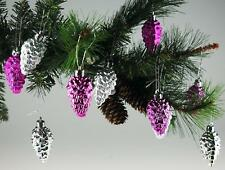 Set Of 16 Hot Pink / Silver Pine Cone Christmas Tree Bauble Decorations