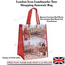 London Icons Reusable Shopping Bag Women's Reusable Tote Shopping Bag Red Box