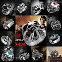 Men Stainless Steel Steam Punk Ring Gothic Rings Skull Men's Jewelry Band