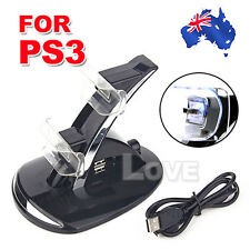 OZ Hot for Sony PS3 Controller Charger Station USB Dual Charger Dock Blue LED