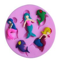 3D Mermaid dolphin shape Silicone Cake Molds Fondant Decorating Baking Mould